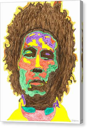 Canvas Print featuring the painting Afro Bob Marley by Stormm Bradshaw