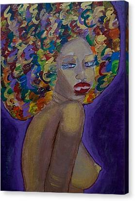 Canvas Print featuring the painting Afro-chic by Apanaki Temitayo M