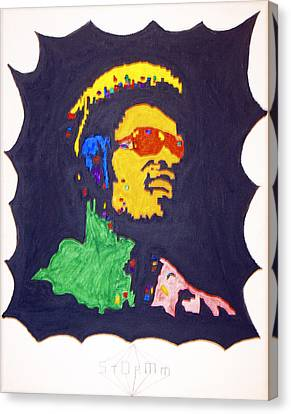 Canvas Print featuring the painting Afro Stevie Wonder by Stormm Bradshaw
