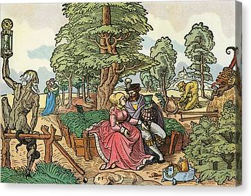 After A 16th Century Woodcut By Peter Flötner Entitled The Hazards Of Love.  Lovers In A Garden Canvas Print by Bridgeman Images