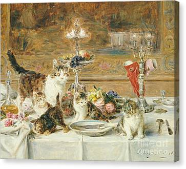 After Dinner Guests Canvas Print by Louis Eugene Lambert