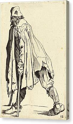After Jacques Callot, Beggar With Crutches And Cap Canvas Print by Quint Lox