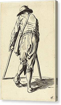 After Jacques Callot, Beggar With Crutches And Hat Canvas Print by Quint Lox