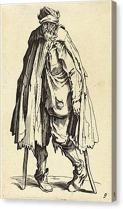 After Jacques Callot, Beggar With Crutches And Sack Canvas Print by Quint Lox