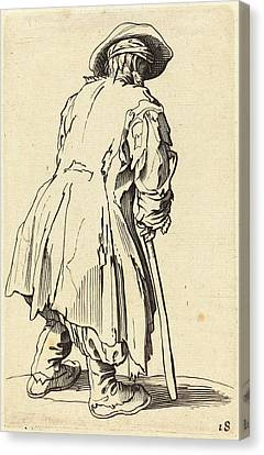After Jacques Callot, Old Beggar With One Crutch Canvas Print by Quint Lox