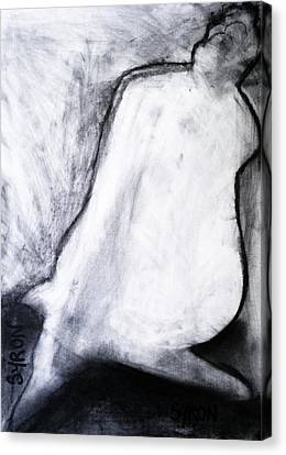 Canvas Print featuring the drawing After Life Drawing 3 by Helen Syron