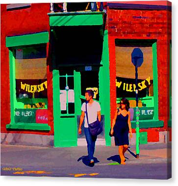 After Lunch At Wilenskys Restaurant Crossing Fairmount Montreal Street Scene Art Carole Spandau Canvas Print by Carole Spandau