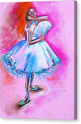 After Master Degas Ballerina With Fan Canvas Print by Susi Franco