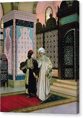 Muslims Canvas Print - After Prayers At The Mosque by Rudolphe Ernst