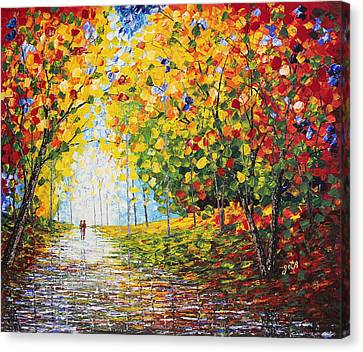 Canvas Print featuring the painting After Rain Autumn Reflections Acrylic Palette Knife Painting by Georgeta Blanaru