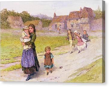 Old School Houses Canvas Print - After School by Henry Towneley Green