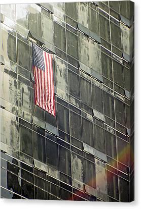 After Sep. 11 Flag On Millennium Hotel Canvas Print