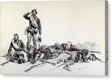 Remington Canvas Print - After The Battle by Frederic Remington