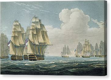 After The Battle Of Trafalgar Canvas Print by Thomas Whitcombe