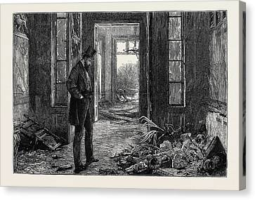 After The Explosion, Wreck Of A Collection Of Bas Reliefs Canvas Print by Chinese School