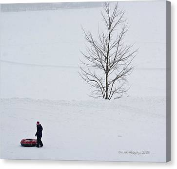 Canvas Print featuring the photograph After The Snow Tube Ride by Ann Murphy