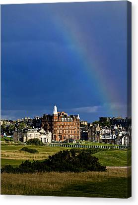Canvas Print featuring the photograph After The Storm At St. Andrews Golf Old Course Scotland by Sally Ross