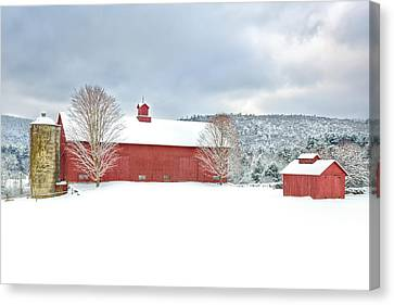 Red Barn In Snow Canvas Print - After The Storm by Bill Wakeley