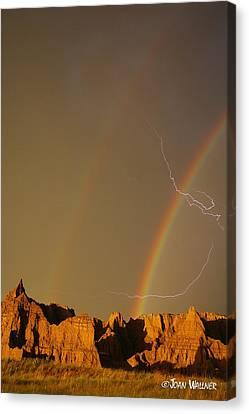 After The Storm - Lightning And Double Rainbow Canvas Print by Joan Wallner