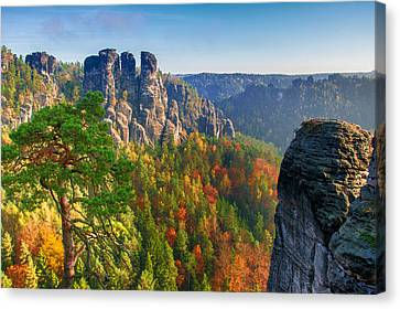 After The Sunrise On The Bastei Canvas Print