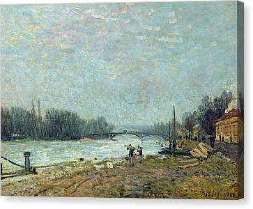 Thaw Canvas Print - After The Thaw, The Seine At Suresnes Bridge by Alfred Sisley