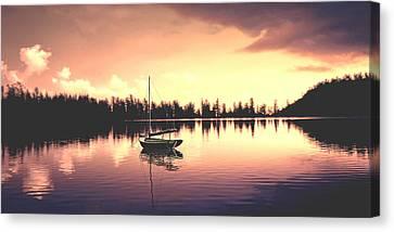 Afterglow  Sunset On Lake Sailboat Panoramic Picture Canvas Print by John Samsen