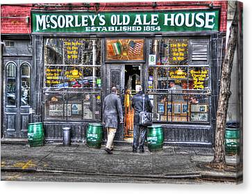 East Village Canvas Print - Afternoon At Mcsorley's by Randy Aveille