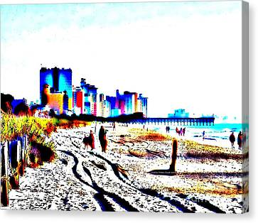 4th July Canvas Print - Afternoon At The Beach by Angelia Hodges Clay