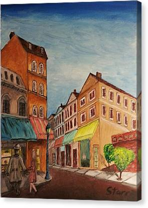 Afternoon Cafe Canvas Print by Irving Starr