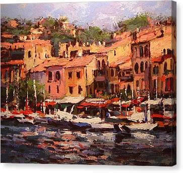 Afternoon In Cassis Canvas Print by R W Goetting