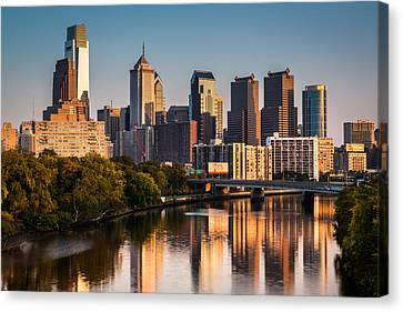 Canvas Print featuring the photograph Afternoon In Philly by Mihai Andritoiu