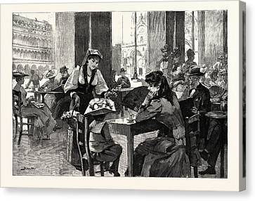 San Marco Canvas Print - Afternoon In The Piazza San Marco Venice The Caf Florian by Italian School