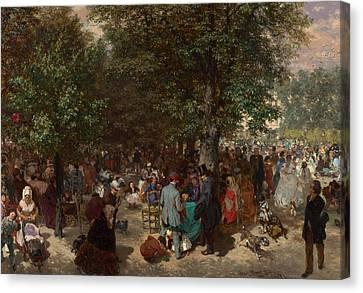 Tuileries Canvas Print - Afternoon In The Tuileries Gardens by Adolph Friedrich Erdmann von Menzel