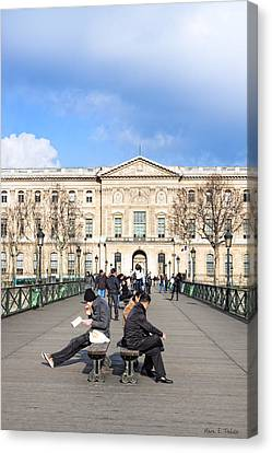 Afternoon On The Pont Des Arts - Parisian Style Canvas Print by Mark E Tisdale