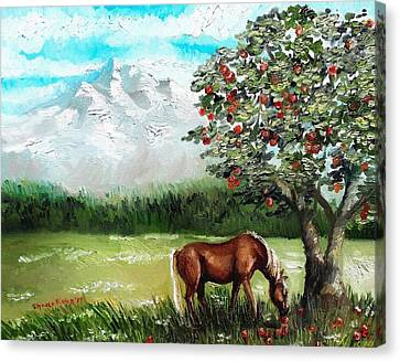 Forelock Canvas Print - Afternoon Snack  by Shana Rowe Jackson