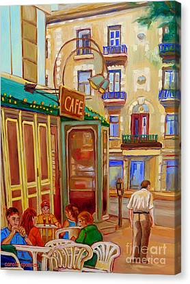 Afternoon Stroll Downtown Montreal-paintings Of Rue St Denis Carole Spandau Canvas Print