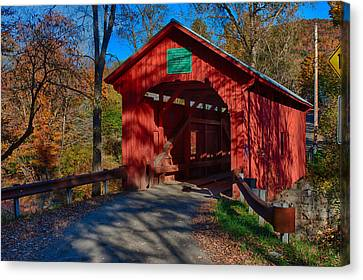 Afternoon Sun On Covered Bridge Canvas Print