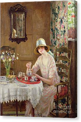 Afternoon Tea Canvas Print by William Henry Margetson