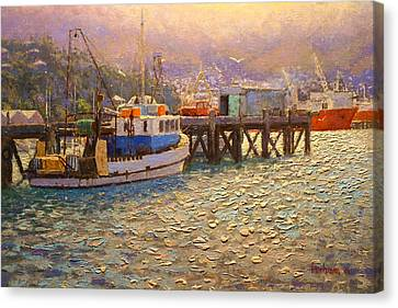 Against The Light Lyttleton Harbour Canvas Print