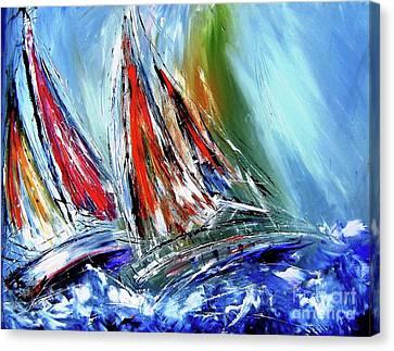 Skillful Sailors Like  Stormy Seas Canvas Print by Mary Cahalan Lee- aka PIXI