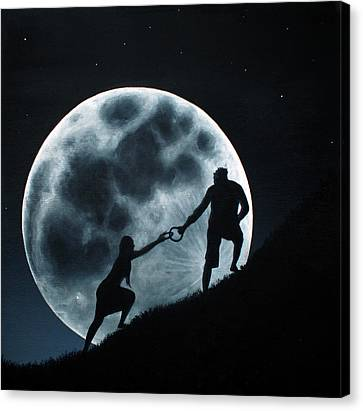 Agape Under A Full Moon Rising Canvas Print