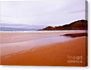 Agate Beach Oregon With Yaquina Head Lighthouse Canvas Print by Artist and Photographer Laura Wrede
