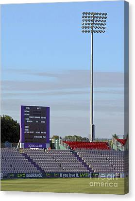 Ageas Bowl Score Board And Floodlights Southampton Canvas Print by Terri Waters