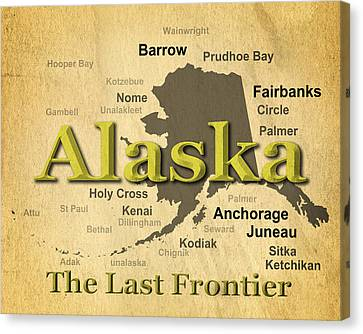 Aged Alaska State Pride Map Silhouette  Canvas Print by Keith Webber Jr