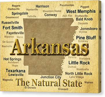 Aged Arkansas State Pride Map Silhouette  Canvas Print by Keith Webber Jr