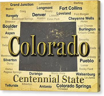 Fort Collins Canvas Print - Aged Colorado State Pride Map Silhouette  by Keith Webber Jr