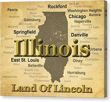 Pontiac Canvas Print - Aged Illinois State Pride Map Silhouette  by Keith Webber Jr