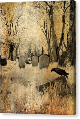 Birds In Graveyard Canvas Print - Aged Infrared by Gothicrow Images