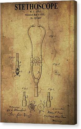 Aged Stethoscope Patent Canvas Print by Dan Sproul
