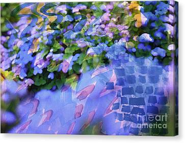 Interpretation Canvas Print - Ageratum Or Bluemink With Watercolor Brushstrokes Overlay by Beverly Claire Kaiya